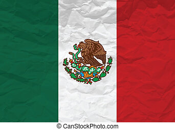 Mexico flag crumpled paper textured background. Vector...