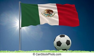 Mexico flag fluttering and football rolls - Flag of Mexico...