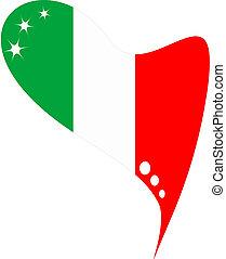 mexico flag in heart. Icon mexico