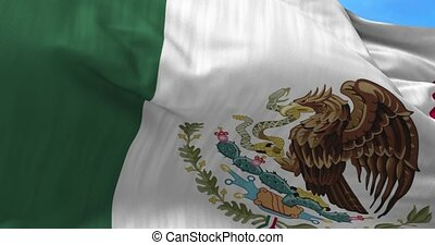 Mexico Flag in the Wind - Close up Mexico flag blowing in...