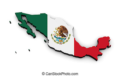 Mexico Flag Map Shape - Shape 3d of Mexico map with Mexican...