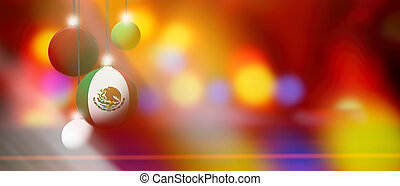 Mexico flag on Christmas ball with blurred and abstract background.