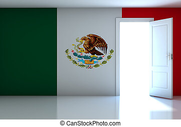 Mexico flag on empty room