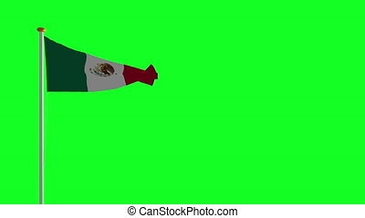 Mexico flag on green screen
