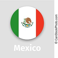 Mexico flag, round icon with shadow