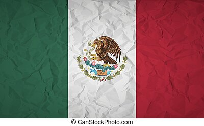 Mexico flag with the effect of crumpled paper - Mexico flag...