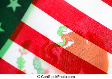 Mexico flag with USA flag