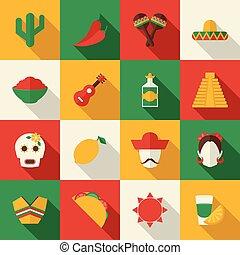 Mexico flat icons set - Mexico travel symbols flat icon set...