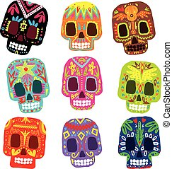 Mexico flowers, skull elements. Vector illustration