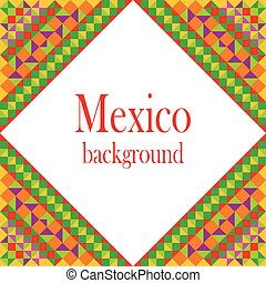 Mexico frame. Pixel bright background in Mexican style