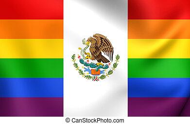 Mexico Gay Flag. Close Up.