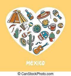 mexico, gekleurde, doodles, vector, verzameling