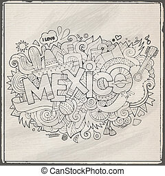 Mexico hand lettering and doodles elements background