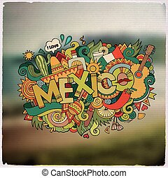 Mexico hand lettering and doodles elements emblem