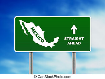 Mexico Highway Sign - High resolution graphic of a green...