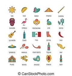 Mexico icon set, cartoon style