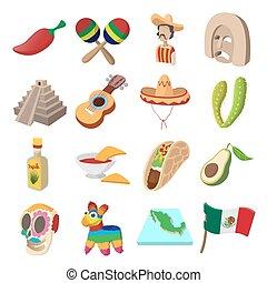 Mexico icons cartoon