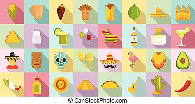 Mexico icons set, flat style