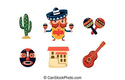 Mexico icons set, Mexican cartoon symbols vector Illustration on a white background