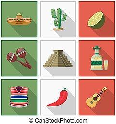 Mexico icons set, mexican symbols