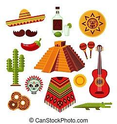 Mexico Icons Set - Mexico icons set with sombrero tequila...
