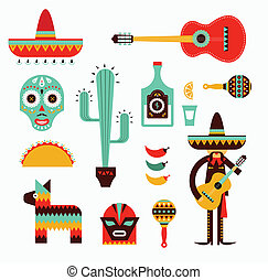 Mexico icons - Vecor illustration of various stylized icons ...