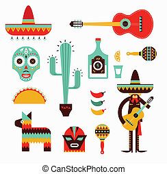 Mexico icons - Vecor illustration of various stylized icons...