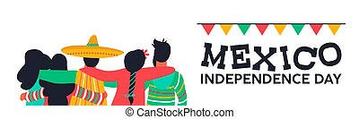 Mexico independence day banner of friends at party