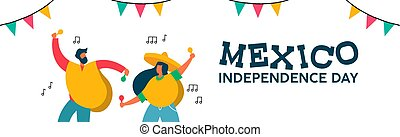 Mexico independence day banner of fun friend party