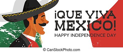 Mexico Independence Day banner of mariachi man