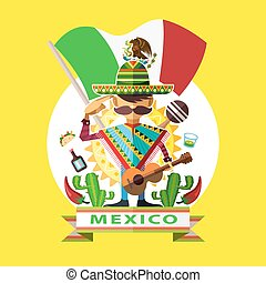 Mexico Independence Day - Illustration Of Mexican Man ...