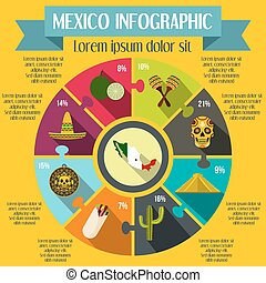 Mexico infographic elements, flat style