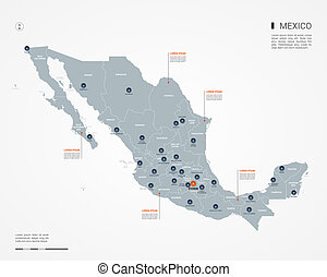 Mexico infographic map vector illustration.