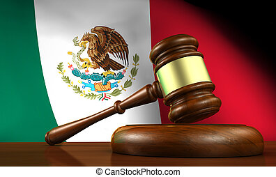 Law and justice of Mexico concept with a 3d rendering of a gavel on a wooden desktop and the Mexican flag on background.