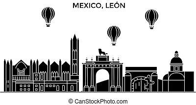 Mexico, Leon architecture urban skyline with landmarks, cityscape, buildings, houses, ,vector city landscape, editable strokes