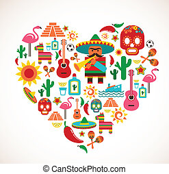 Mexico love - heart with set of vector icons - Mexico love...