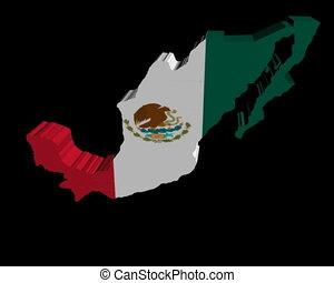 Mexico map flag rotating animation