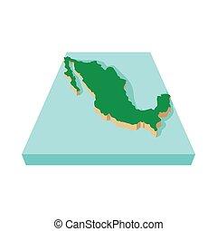 Mexico map icon, cartoon style