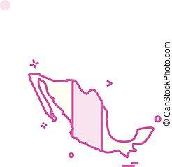 Mexico map icon design vector
