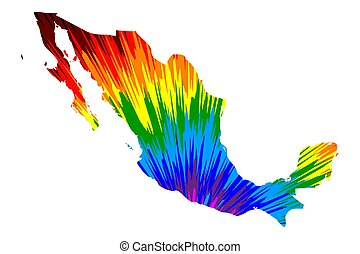 Mexico - map is designed rainbow abstract colorful pattern