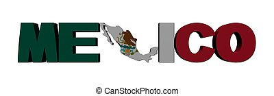 Mexico map text with flag illustration