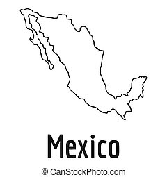 Mexico map thin line simple