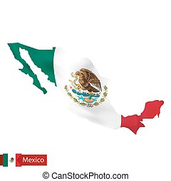 Mexico map with waving flag of country.