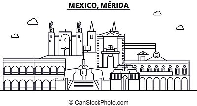 Mexico, Merida architecture line skyline illustration....