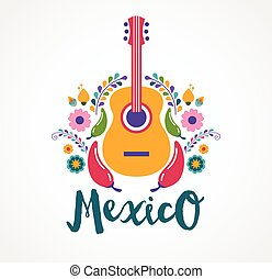 Mexico flowers, music and food elements. Vector illustration