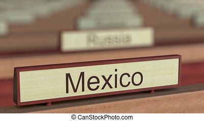 Mexico name sign among different countries plaques at...