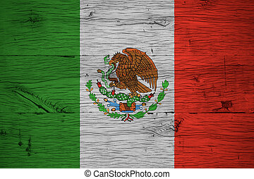 Mexico national flag painted old oak wood
