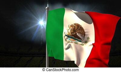Mexico national flag waving on flagpole on black background...