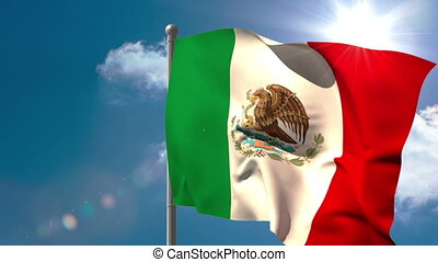 Mexico national flag waving on flagpole on blue sky...
