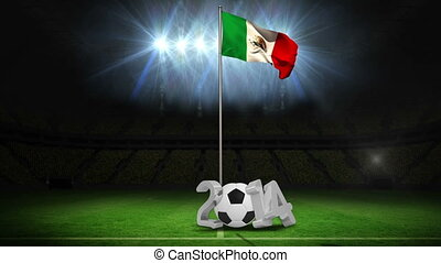 Mexico national flag waving on pole with 2014 message on football pitch